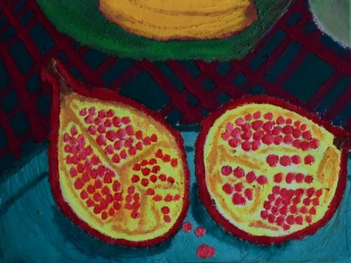 Pomengranate on a Tartan Table Cloth