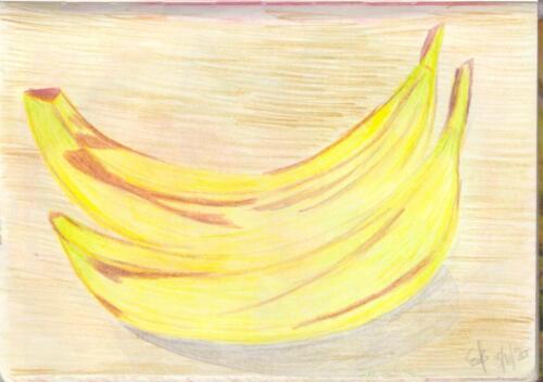Two Bananas on Wood
